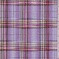 Lilac Multi Plaid Cotton Lawn